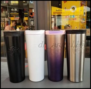 The latest 16OZ Starbucks stainless steel thermos cup 14 styles spiral gradient office cup coffee mug support custom logo, free shipping