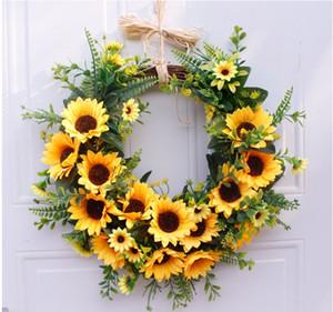 16 İnç Ayçiçeği Rustik All Seasons Kapalı Outdoor Evi Dekoratif Yapay Çiçek Çelenk Sahte Çiçek Çelenk