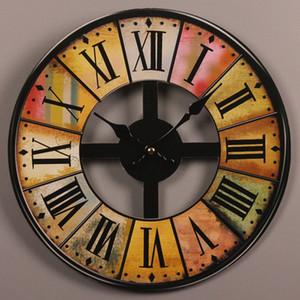 Mur en bois Vintage Horloge Grand Shabby Chic Cuisine rustique Maison Antique style Salon décoratif 1008