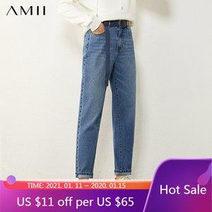 AMII Minimalismus Winter Kausal Jeans für Frauen Mode Baumwolle Hohe Taille Gerade Blaue Frauen Hosen Weibliche Hosen 12070550 C0115
