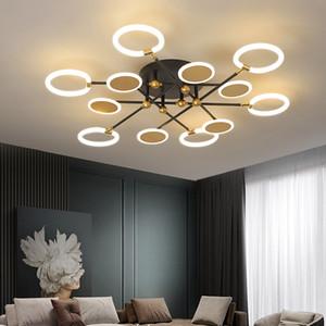 Nordic LED Chandelier Modern Minimalist Bedroom Circle Chandelier Light Personalized Living Room Lights Fixture Pendant Lamp