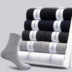 Designer Men's Cotton Socks New Styles 10 Pairs   Lot Black Business Men Socks Breathable Spring for Male US Size(6.5-12)