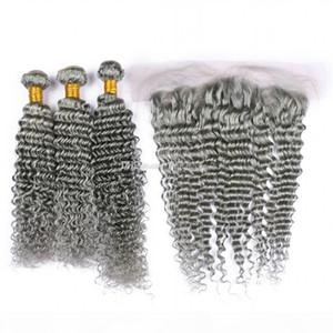 La onda profunda astilla gris Oído al oído 13x4 Cierre frontal del cordón con 3Bundles 4pcs Virgen grises cabello humano teje con Frontal