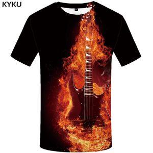 3d Tshirt Flame T-shirt Men Music Tshirts Casual Black T-shirts 3d Guitar Printed Metal Anime Clothes Short Sleeve