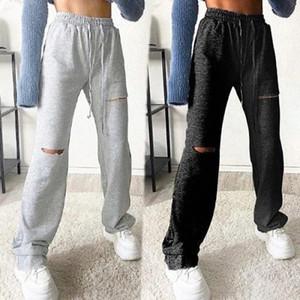 Pantaloni da donna Casual Hole Sweatpants Solid Color Cover Coulisstring Casual Fitting Soft Strappato Pantaloni Pantaloni per Jogging Sports Fitnes # MP8P
