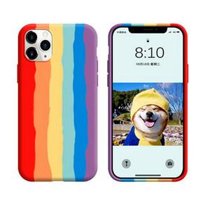 Para Iphone 12 mini 11 pro xs xr max x 8 7 6 mais cores do arco-íris de borracha de silicone cover caso de telefone celular líquidos originais com pacotes de varejo