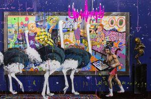 Angelo Accardi Страус и Живопись Носорог Home Decor Масло на холсте Wall Art Canvas картинки для гостиной 201003