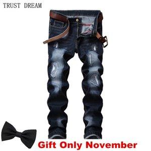 Klassische Männer Jeans Distressed Slim Stonewash Kratzt Casual Denim Hosen Streetwear Erstaunliche Männliche Hose Hombre Homme Kleidung 201105
