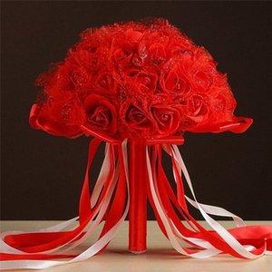 Banquete de boda blanco rojo Artificial Ramos de rosas nupcial de la novia Ramo de flores Decoración Santo g0MM #