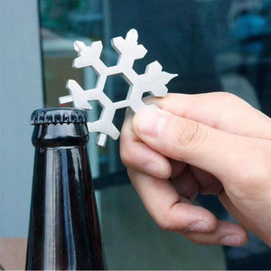 18 in 1 Snowflake Keyring Wrench Multifunction EDC Tool Portable Stainless Steel Keychain Screwdriver Bottle Openers CCA12592