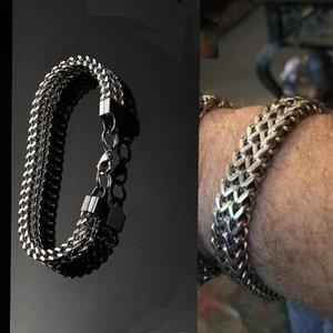 Cadeia Sangsy pesado cubano Pulseira Homens, Prata, Aço Inoxidável Cor Curb Chain Link Bracelet motociclista Hip Hop jóias homens do presente do partido