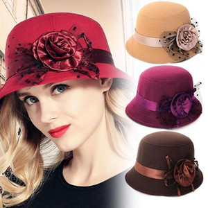 Women Bucket Cap Retro British Style Imitation Woolen Flower Bowler Hats Wide Brim Elegant Autumn Winter Warm Soft Fedora Hat