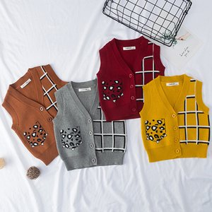 Малыш Vest Baby Boy девушка вязаный свитер жилет Дети Мода V-образным вырезом жилет плед Leopard Карманный Кардиган Вязаные Детская одежда 201106