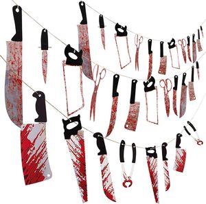 PVC cuchillo Sangre bandera del partido de Halloween del vampiro zombi Decoración PVC Mano sangrienta del pie Garland Banner de Halloween del hotel Decoración EWE1083