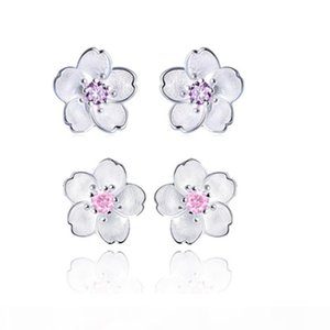 Romantic Cherry Flower Stud Earrings 925 Sterling Silver Plated Earrings Fashion Jewelry For Women Free Shipping Cheap Purple Pink Color