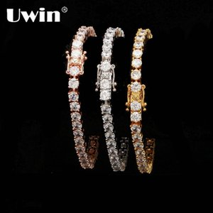 Uwin 1 Row Cubic Zircon Tennis Link Bracelet Rose Gold Silver Color Iced Out Mens CZ Bracelet Fashion Jewelry