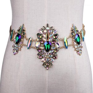 New metal chain belts Women's Diamante crystal Chain Belt Full Rhinestone bride wide Bling Female Crystal Waist Belt accessories1
