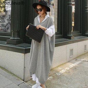 Mozuleva de gran tamaño mujeres suéter largo vestido Otoño Invierno 2020 V-cuello de la manga del Batwing Mujer que hace punto vestido sólido Vestidos