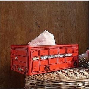 Vintage Ev Dekorasyonu Zakka İngiltere Londra Otobüs Mendil Ekstraksiyon Kutu Teneke WSHP #