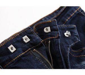 New Biker Jeans Men High Quality Vintage Two-tone Blue Jeans Fashion Elastic Pant Male Slim Zipper Denim Trouser Plus Size11