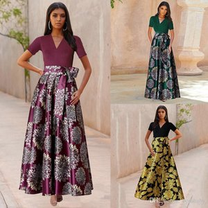 Women Floral Long Dress Ladies Contrast Stitching Short Sleeve V -Neck Dress Lady Casual Hight Waist Lace Ball Gown S -2xl 060407