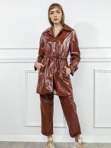 2021 Women Trench Coat Windbreak Outwear Wrinkled Autumn Winter Sexy Leather Jacket
