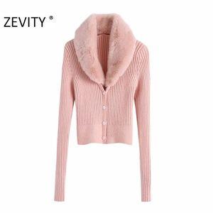 Zevity Kadınlar Moda Sahte Kürk V Yaka Patchwork Hırka Örme Triko Bayan Şık Uzun Kollu Tek Breasted İnce S429 Tops