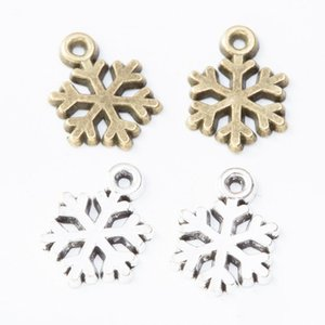 300pcs Christmas DIY Jewelry 15*10MM Antique Silver Metal Snowflake Charms Bronze Pendant for Necklace Bracelet Earring Jewelry Making