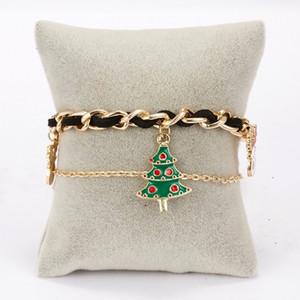 HOT 20PCS Christmas Bracelet Santa Claus elk Christmas tree chain double layer Bracelet woven Bracelet Party Gift 5style T500455