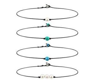 Ювелирные изделия ручной работы из бисера бирюзовый ожерелье кожа ожерелья Природные жемчужное ожерелье для женщин