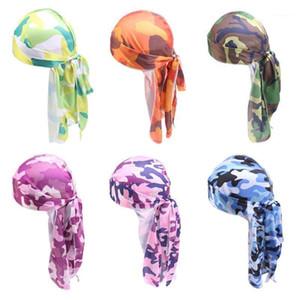 Unisex Imitation Silk Durag Pirate Cap Camouflage Long Tail Bandana Turban Hat Cycling Beanie Headwrap 20201