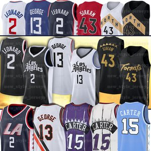 Carter NCAA 15 Vince 43 파스칼 카터 Jersesesy 2 Kawhi 13 Paul Leonard George NCAA 남자 농구 유니폼