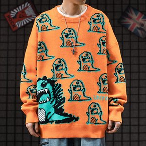 High street spoof dinosaur teenagers inside sweater couple wear street hip hop loose sweater men