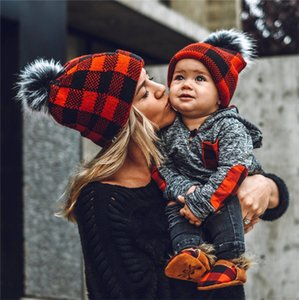 2020 NEW Plaid Beanies with Fur Pom pom Big Ball Winter Hats Parent Kids Family Matching Beanie Skull Caps Grid Hats Ski Headwears E102002