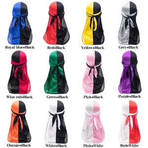 Satin Durags Bandana Mode Hommes Turban Perruques Hommes Femmes Silky Durag Couvre-chef double casquettes de couleurs Bandeau Pirate Hat Accessoires cheveux