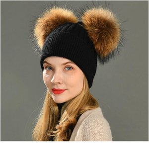 Double Fur Pom Pom Women Winter Hat Female Wool Removable Fur Ball Knitted Beanie Cap With 2 Natural Color Raccoon Fu jllQDD