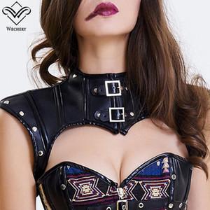 Wechery Steampunk Accessories Women Leather Corset Crop Tops Punk Gothic Style Retro Custom Plus Size S-2XL Black Brown