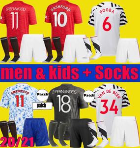 20 21 Manchester Greenwood Rashford B. Fernandes Cavani Soccer Jersey Kits 2020 2021 Pogba Van de Beek Футбольная рубашка Fouth Man Kids Наборы