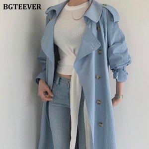 BGTEEVER Autumn Winter Elegant Double Breasted Women Long Trench Coats Long Sleeve Loose Belted Split Female Blue Windbreaker