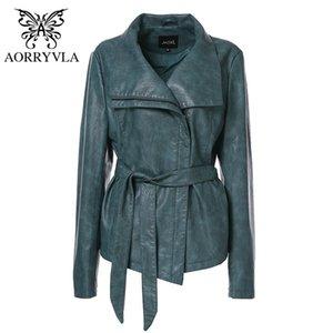 AORRYVLA Nueva Primavera mujeres cubren la chaqueta más el tamaño de la manga completa da vuelta-abajo chaquetas de cuero Cremalleras delgado corto de las señoras 201007