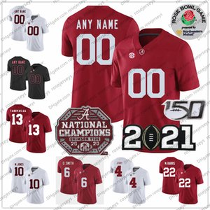 Personalizado 2021 Alabama Crimson Tide 6 Devonta Smith 10 Mac Jones 22 Najee Harris TAGOVAILOAA 4 Brian Robinson Jr. Campeonato Rose Bowl Jersey