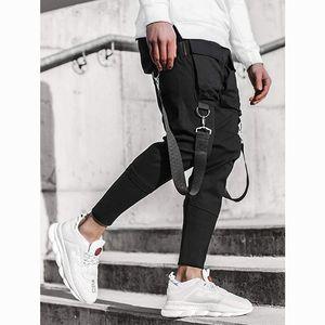 Hip Hop Boy Multi-pocket Elastic Waist Design Harem Pant Men Streetwear Punk Casual Trousers Jogger Male Dancing Black Pants F1210