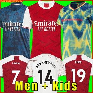 Maglia da calcio Arsen Gunners 20 21 Arsenal versione giocatore fan PEPE SAKA THOMAS WILLIAN NICOLAS CEBALLOS GUENDOUZI 2020 da uomo + kit per bambini Uniformi razza umana quarto