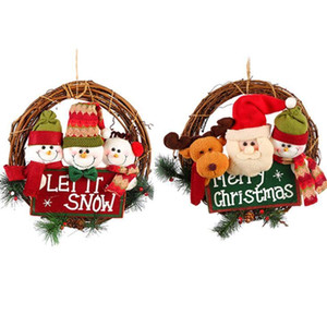 Vine Ring Wall Flower Garland 2020 Christmas Wreath Xmas Rattan Door Hanging Gifts Snow Man Santa Decoration