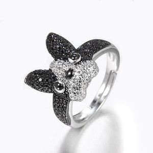 Red Trees Brand New French Bulldog Ring Fine Jewelry Adjustable Size 925 Sterling Silver Rings For Women Birthday Gift Y200918