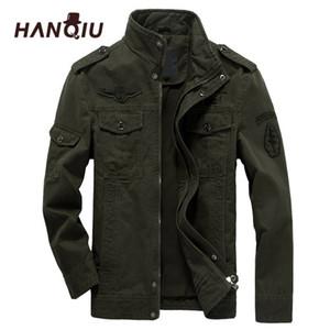 HANQIU Marka M-6XL Bombacı Ceket Erkekler Askeri Giyim Bahar Sonbahar Erkek Ceket Katı Gevşek Ordu Askeri Ceket 201114