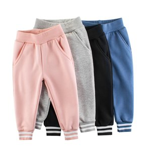 Quality INS Autumn Little Girls Boys Pants Fleece Pants Cotton Elastic Wasit Spring Winter Unisex Children Girls Trousers