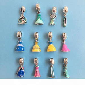 9 Sets Princess Party Dress & Crown & Murano Glass Charms Beads 925 Sterling Silver Jewelry Pendants for Charms Bracelets DIY 3pcs set