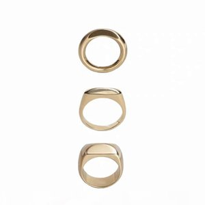 2019 Ins ! cool breeze ascetic metal ring, gold and silver two colors copper gold-plated abstract ring girl