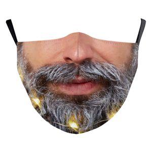 DHL Free Shipping hot sale Mask PM2.5 Adults Halloween Human head beard santa claus cotton Cloth Dustproof 3D Printing Washable Dust Mask